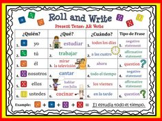 Spanish Roll and Write Activities for Present Tense Verbs. It includes both Regular and Irregular Verbs.