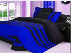Xmas 16'' 5 Pc Stripped Full Royal Blue & Black Duvet / Quilt Cover Set