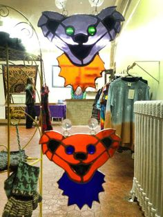 Stained Glass: 2 new colors of the Grateful Dead bear design By: Glassy Sistaa https://www.facebook.com/2GLASSYSISTAA #gratefuldead #stainedglass #handmade