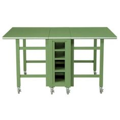 Craft Space Rhododendron Leaf Green Wooden Collapsible Craft Table with Wheels (60 in. W)