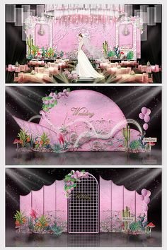 Fresh and beautiful Barbie pink wedding effect map Barbie Decorations, Stage Decorations, Wedding Decorations, Wedding Backdrop Design, Wedding Stage Design, Pink Blue Weddings, Pink And Gold Wedding, Chinese Wedding Decor, Eden Gardens