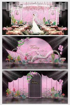 Fresh and beautiful Barbie pink wedding effect map Wedding Backdrop Design, Wedding Stage Design, Wedding Stage Decorations, Pink Blue Weddings, Pink And Gold Wedding, Barbie Decorations, Chinese Wedding Decor, Wedding Background, Backdrops