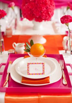 Pancakes & Pajamas pink and orange place setting