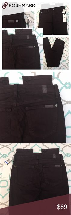 """NWT!💙👖Gorgeous Purple Skinny Jeans👖💙25 0 30"""" New! 💙👖7 For All Mankind Skinnies👖💙 Mid Rise. Gorgeous Plum Eggplant Deep Dark Rich Purple Color! 💜🍆🍇🍆💜 Slightly lighter than Photos. New With Tags! Size 25 (0). 29.25"""" Inseam. 8.75"""" Rise. 12.75"""" Across Back. Amazing Stretch. Super Soft Fabric. Slight scuffs around knee. Didn't show up very well in the photos because they aren't very noticeable (imo 😉). You can zoom in on the second collage to try see them. Gorgeous! 7 For All…"""
