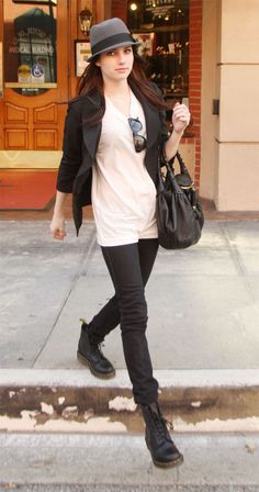 emma roberts--love the black jeans tucked into docs. doc martens, black skinny jeans