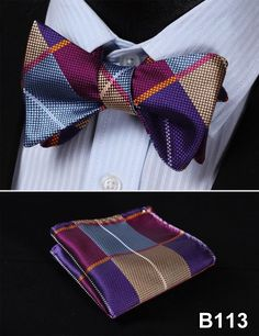 Plaid Check Bow Tie 100%Silk Men Classic Wedding Butterfly Self Bow Tie BowTie # B1