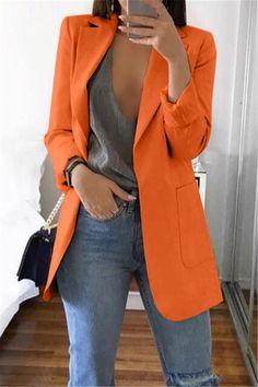 Blazer Feminino Casual Plus Size Tops Oversize Cardigan Temperament Long Sleeve Solid Color TurnDown Collar Coat Size S Color Beige Long Blazer, Casual Blazer, Orange Blazer Outfits, Blazer Outfits For Women, Women Blazer, Women's Casual, Blazers For Women, Jackets For Women, Orange Suit