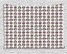 Ambesonne Skulls Decorations Collection, Day of the Dead Colorful Sugar Skulls With Flower Prints, Bedroom Living Room Dorm Wall Hanging Tapestry, 80W X 60L Inch