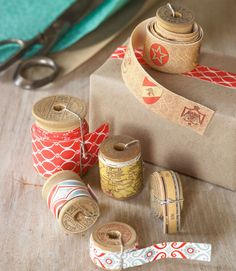 How To Make Decorative Tape using gift wrap - great idea!