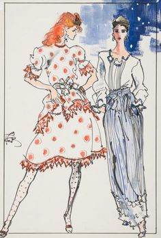 By Kenneth Paul Block, 1 9 8 2 ~ models in dress and skirt by Geoffrey Beene, W Magazine. Fashion Sketchbook, Fashion Sketches, Fashion Drawings, Fashion Illustration Vintage, Illustration Art, Fashion Art, Vintage Fashion, Fashion Design, Fashion Figures