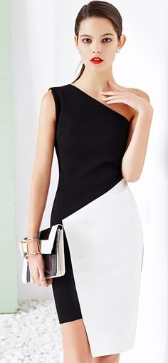 Black and White Color Block One Shoulder Asymmetrical Dress White Outfits, Classy Outfits, Dress Outfits, Fashion Dresses, Dress Clothes, Bodycon Fashion, Trendy Outfits, Trendy Dresses, Simple Dresses