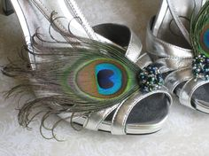 Custom Peacock Shoe Clips  Feathers Jewels by KirahleyKreations