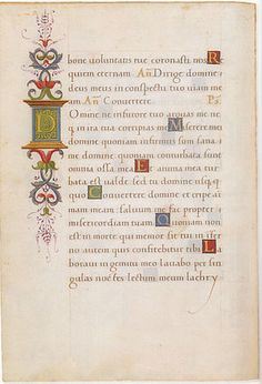 Humanistic Minuscule - Page from the Book of Hours of Giovanni II Bentivoglio, Bologna, c. Humanist minuscule with colored versals and decorations. Medieval Books, Medieval Manuscript, Medieval Art, Illuminated Manuscript, Illuminated Letters, Calligraphy Artist, Calligraphy Alphabet, Calligraphy Tutorial, Gothic Script