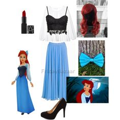 Ariel town outfit by thefrugal-fashionista on Polyvore featuring polyvore, fashion, style, Charlotte Russe, thelittlemermaid, ariel and Disneyprincess