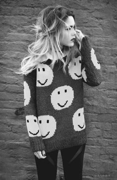 beauty, blackandwhite, blond, fashion, girl, grunge, hair, model, smiley, softgrunge, style, swag, outfits i want