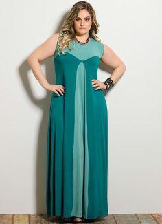 Vestido Longo Bicolor Turquesa Plus Size - Posthaus