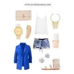 #OOTD Fringe Sandals, Blue Blazer & Ripped Denim Shorts #RiverIsland  #Mango #Choies #Warehouse www.StyleFixxDaily.com