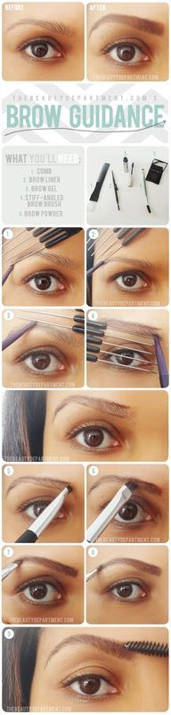Perfect brows using a comb.  This really works.  I found this comb at the Dollar Tree in a pack of 12 assorted combs.
