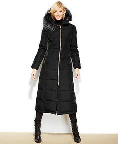 Calvin Klein Hooded Faux-Fur-Trim Down Puffer Maxi Coat FINALLY FOUND A PROPER NEW ENGLAND WINTER PARKA!