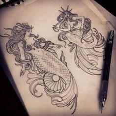 Tattoo Mermaid Old School Black 70 Ideas Mermaid Artwork, Mermaid Drawings, Black Tattoos, Girl Tattoos, Tattoos For Guys, Traditional Mermaid Tattoos, Traditional Tattoos, Neo Traditional, American Traditional