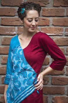 Amok dress, hand embroidered silk and cotton.