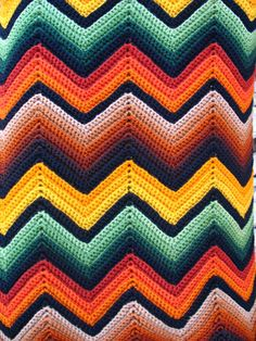 Vintage Chevron Afghan ZigZag Blanket. >the family had one like this growing up with neutrals. Would love to get one :)