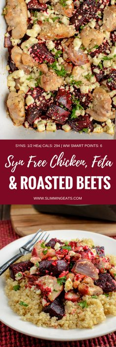 Flavour explosion in this Syn Free Chicken, Feta and Roasted Beetroot Bake - a perfect easy dinner. Gluten Free, Slimming World and Weight Watchers friendly | www.slimmingeats.com