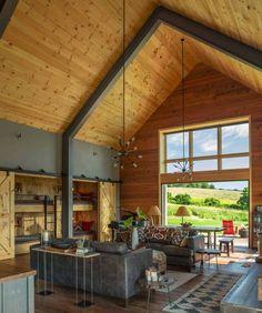 48 ideas for modern barn house interior bedrooms Barn House Design, Modern Barn House, Barn House Plans, Modern House Design, Barn Plans, Metal Barn House, Le Vermont, Plan Chalet, Casa Loft