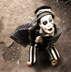 ★ℒ ★ accordion; black and white stripes; hat; mime; clown;