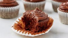 Replace oil with a secret ingredient in these tasty chocolate cupcakes. Cake Mix Recipes, Brownie Recipes, Cupcake Recipes, Cupcake Cakes, Dessert Recipes, Dinner Recipes, Cup Cakes, Low Calorie Desserts, Healthy Desserts
