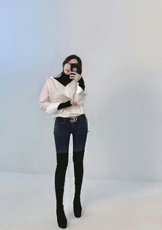 Turtle Neck Blouse And Boots Korean Fashion
