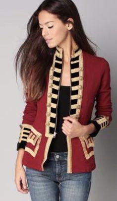 c4a5ca91bf14 Denim Supply Ralph Lauren Women Military Army Officer Jacket Red Gold Size  S   eBay Vêtements