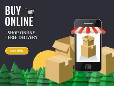 Buy online home delivery mobile illustration for advertisement to shop online and promoting the free delivery service.
