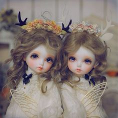 Ball Jointed Dolls bjd two girls, antlers, dirty blond hai, cute