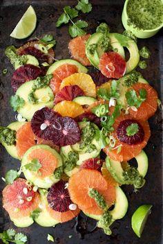 A California style orange avocado salad recipe with a creamy scallion cilantro lime dressing drizzle!