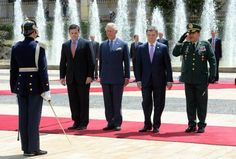 Prince Charles, Prince of Wales and the President of Colombia Juan Manuel Santos inspects the guard at the Presidential Palace during an Official Welcome on October 29, 2014 in Bogota, Colombia. The Royal Couple are on a four day visit to Colombia as part of a Royal tour to Colombia and Mexico. After fifty years of armed conflict in Colombia the theme for the visit is Peace and Reconciliation.