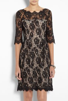 Celia 3/4 Sleeve Lace Dress - idea to use black lace with nude lining for floor length gown