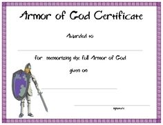 www.certificatetemplate.org-Armor of God Certificate for your Kids Ministry!