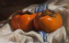 Persimmons and french cloth, oil on board by Julian Merrow-Smith