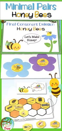 Eight minimal pairs books to work on auditory discrimination and/or reduction of phonological processes by helping honey bees make honey! Speech Activities, Speech Therapy Activities, Speech Language Pathology, Language Activities, Speech And Language, Minimal Pair, Phonological Processes, Spring Theme, Bee Theme
