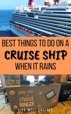 Could it rain on your cruise? Of course! This has happened to us more than once, but luckily there is a lot to do on a cruise ship, even indoors! Here are more than 30 awesome things to do on a cruise ship on a rainy day! #cruise #cruisetips #cruisetravel #carnivalcruise #cruises Cruise Tips, Cruise Travel, Cruise Vacation, Things To Do On A Rainy Day, Awesome Things, Good Things, Cruise Destinations, When It Rains, Royal Caribbean