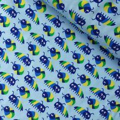 Tela jersey de punto de algodón orgánico con certificado GOTS. 95% algodón orgánico, 5% elastán. Alegres y coloridos bichos bola sobre fondo azul celeste.   Ancho 150 cm. Cada bicho mide 3,5 cm de ancho  Es ligera, suave y muy agradable al tacto. Ideal para confección de camisetas infantiles, leggings, vestidos, etc. #telasinfantiles #telasjersey #telapuntojersey #jerseyinfantiles #telasniños