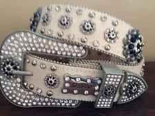 Sz Medium BHW Western Cowgirl Belt Black Berry Concho Leather Bling