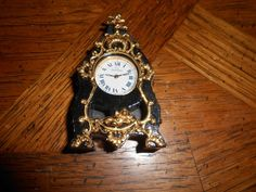 1:12 Scale artisan signed  French antique style clock black and gold working?