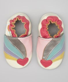 White Rainbow Heart Booties » Oh my goodness, these are adorable!