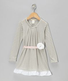 Take a look at this Gray Stripe Gingerbread Dress - Infant & Toddler by Cavelle Kids on #zulily today!