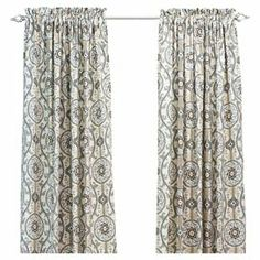 """Bring a touch of exotic appeal to your decor with this chic cotton curtain, showcasing a suzani medallion motif.    Product: Curtain Construction Material: 100% CottonColor: Cream, gold, and brownFeatures:  Fits 1.5"""" rod Unlined  Note: Image depicts two curtain panels, but price is for one"""