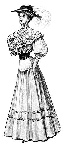 Either dimity or bordered organdy is the perfect material for the costume above, trimmed with a bit of narrow lace and insertion. Patterns for the waist came in six sizes: 32 to 42 inches bust measurement. The waist required three yards of 36-inch wide material.  The skirt had a gathered straight lower part joined to a sectional yoke, and required six yards and seven-eighths of 36-inch wide material.