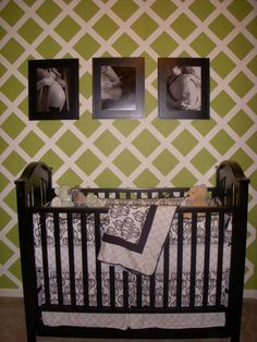 Green and black baby room