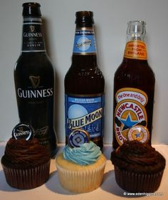 Beer Cupcakes - One for the Guys Newcastle, Guinness or Blue Moon. $28.00, via Etsy. (Not a recipe.)